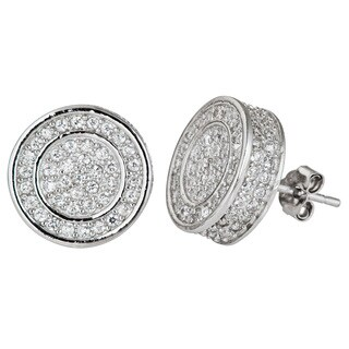 Decadence Sterling Silver Round Micropave CZ Stud Earrings