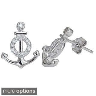 Decadence Sterling Silver Cubic Zirconia Anchor Micropave Stud Earrings