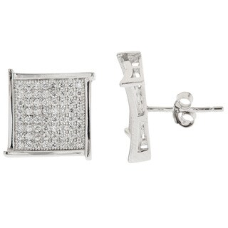 Decadence Sterling Silver Cubic Zirconia Square Pave-set Earrings