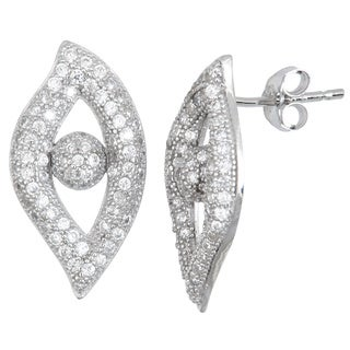 Decadence Sterling Silver Cubic Zirconia Eye Micropave Stud Earrings