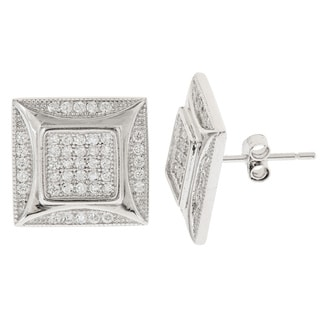 Decadence Sterling Silver Square Micropave Cubic Zirconia Stud Earrings