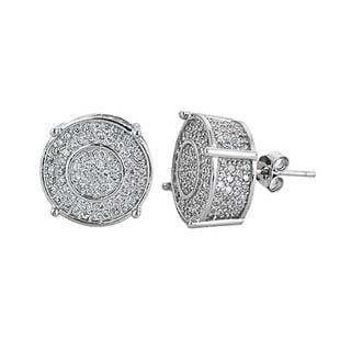 Decadence Sterling Silver Cubic Zirconia Micropave Fancy Round Stud Earrings