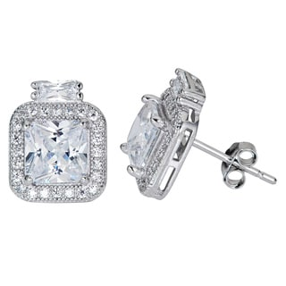 Decadence Sterling Silver Radiant-cut Cubic Zirconia Micropave Stud Earrings