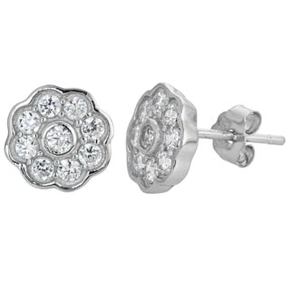 Decadence Sterling Silver Micropave Flower Stud Earrings with Cubic Zirconia