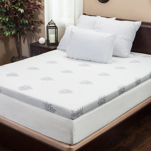 shop christopher knight home 4 inch dual layer king size gel memory foam mattress topper free. Black Bedroom Furniture Sets. Home Design Ideas