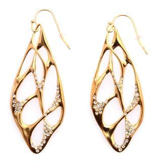 De Buman 18k Yellow Gold Plated, Black Rhodium Plated or 18k Rose Gold Plated White Czech Earrings