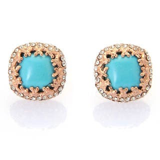 De Buman 18k Rose Gold Plated or 18k Yellow Gold Plated Turquoise and White Czech Earrings|https://ak1.ostkcdn.com/images/products/9736883/P16911001.jpg?impolicy=medium