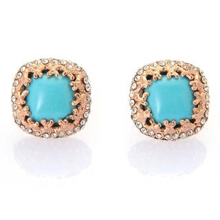 De Buman 18k Rose Gold Plated or 18k Yellow Gold Plated Turquoise and White Czech Earrings