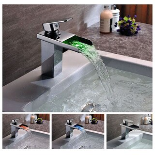 Kokols LED Chrome Color Changing Vessel Sink Waterfall Faucet