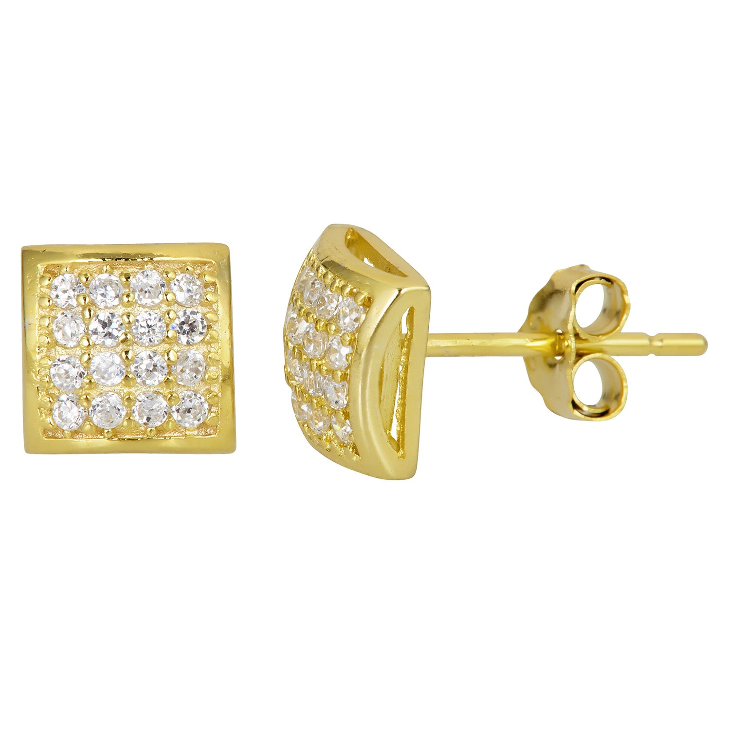 Square Micro Pave Set CZ Stud Earrings Push Back 14K Yellow Gold Clad Silver