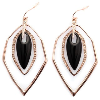 De Buman 18k Yellow Gold Plated Mother-of-Pearl or 18k Rose Gold Plated and Black Agate Earrings