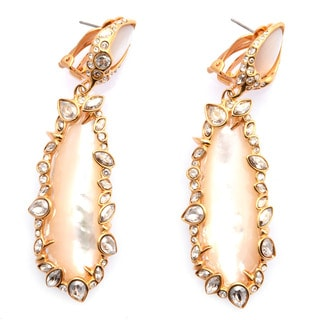 De Buman 18k Gold Plated Mother of Pearl and Crystal Dangle Earrings