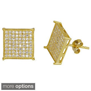 Decadence Sterling Silver 18k Gold Plated Flat Micropave Stud Earrings with Cubic Zirconia