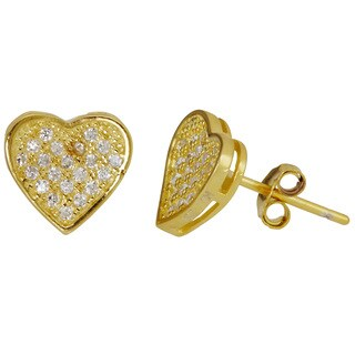 Decadence Sterling Silver 18k Gold Plated Flat Heart Micropave Stud Earringswith Cubic Zirconia