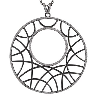 Luxiro Sterling Silver Cubic Zirconia Filigree Abstract Large Circle Necklace