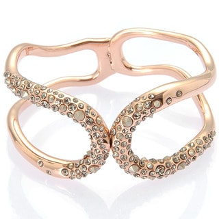 De Buman 18k Rose Gold Plated Crystal Bangle