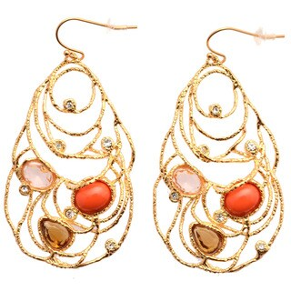 De Buman 18k Gold Plated Crystal and Red Coral Dangle Earrings