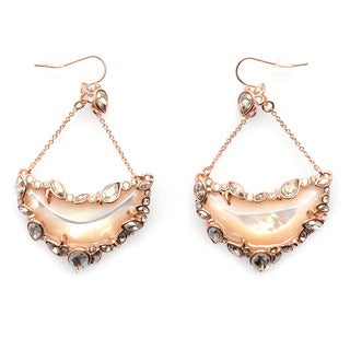 De Buman 14k Rose Gold Plated Mother of Pearl and Crystal Dangle Earrings