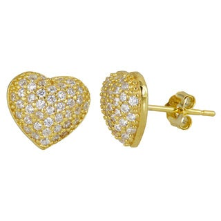 Decadence 18k Goldplated Sterling Silver Micropave Cubic Zirconia Heart Stud Earrings
