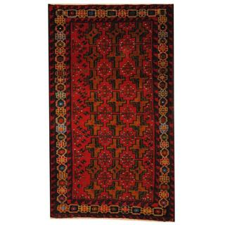 Herat Oriental Afghan Hand-knotted 1950s Semi-antique Tribal Balouchi Wool Rug (2'9 x 4'8)