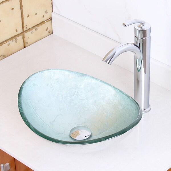 Elite Tempered Glass Oval Artistic Silver Bathroom Vessel Sink/ Faucet ...