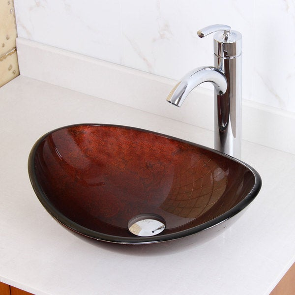 Elite Unique Oval Artistic Bronze Tempered Glass Bathroom