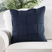 Handmade Cotton Blue 22-inch Throw Pillow