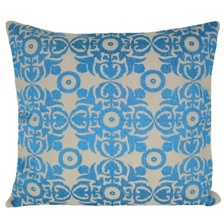 Turquoise Embroidered Geometric 20-inch Feather Filled Throw Pillow