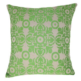 Green Embroidered Geometric 20-inch Throw Pillow