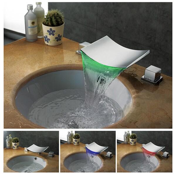 Kokols 2 Handle Led Waterfall Widespread Vessel Sink Faucet