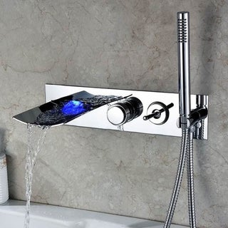 Kokols Wall Mount LED Waterfall Tub Faucet and Hand Shower