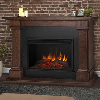 Callaway Chestnut Oak 63 in. L x 17.25 in. W x 48 in. H Grand Electric Fireplace