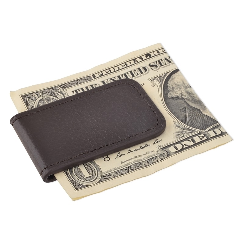 MONEY CLIP MAGNETIC PLAIN BLACK NEW GENUINE LEATHER GREAT GIFT IDEA