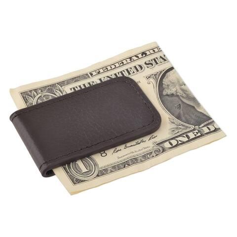 Zodaca Plain Black/ Brown Genuine 100-percent Leather Magnetic Slim Wallet Pocket Money Clip Holder