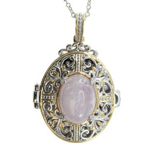 Michael Valitutti Palladium Silver Kunzite Locket Pendant (Refurbished)