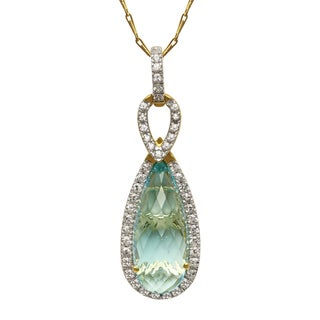 Beverly Hills Charm 14k Yellow Gold 7.7ct. TGW White Sapphire and Blue Topaz Necklace