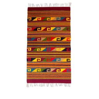 Handmade Nature's Rainbow Zapotec Wool Rug 4.9 x 2.6 Ft (Mexico) - 2.6' x 4.9'