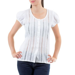 Handcrafted Cotton 'White Natural Beauty' Blouse (El Salvador)