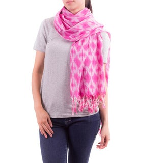 Handcrafted Cotton 'Perky Pink' Shawl (Guatemala)