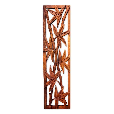 Handmade Bamboo Forest Brown Suar Wood Wall Hanging Relief Panel (Indonesia)