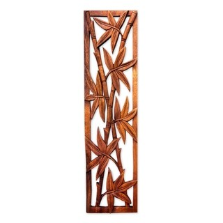 Bamboo Forest Handmade Hand Carved Artisan Designer Home Decor Accent Brown Suar Wood Wall Hanging Relief Panel (Indonesia)