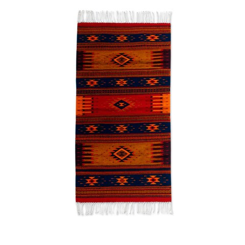 Handmade Zapotec Night In The Sierra Wool Rug 4.9'x2.6' (Mexico) - 4'9 x 2'7
