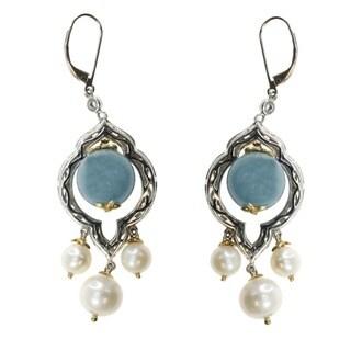 Michael Valitutti Palladium Silver Earrings Milky Aquamarine With Pearls (6-10mm)