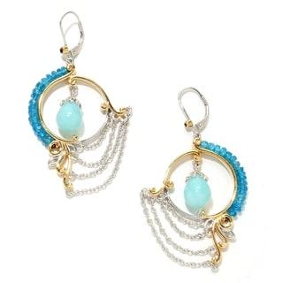 Michael Valitutti Palladium Silver Amazonite and Apatite Earrings
