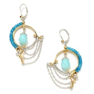 Michael Valitutti Palladium Silver Amazonite and Apatite Earrings