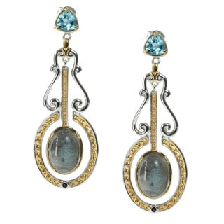 Michael Valitutti Palladium Silver Labradorite And Topaz Earrings