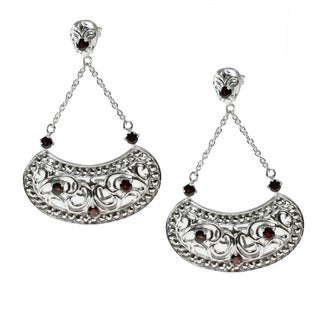 Dallas Prince Sterling Silver Marcasite And Garnet Earrings