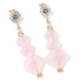 Michael Valitutti Palladium Silver Rose Quartz, Amethyst And Pink Sapphire Earrings