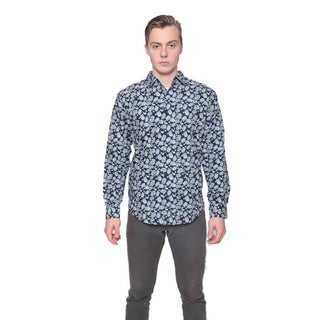 Men's Black Retro Paisley Pattern Button-down Shirt