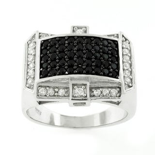 Sterling Silver Men's Cubic Zirconia 2-tone Black and White Ring